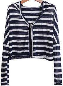 Navy Hooded Long Sleeve Striped Crop Jacket