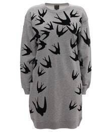 Grey Long Sleeve Swallow Print Sweatshirt Dress