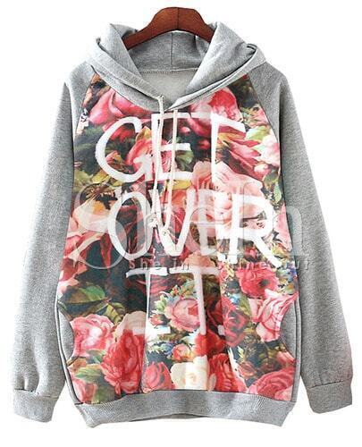 Grey Hooded Floral Letters Print Sweatshirt