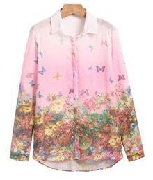 Pink Long Sleeve Butterfly Floral Print Blouse