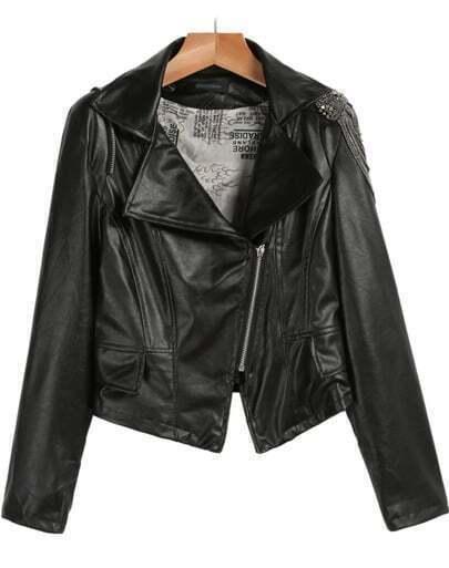 Black Lapel Long Sleeve Zipper Crop PU Jacket