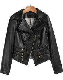 Black Lapel Long Sleeve Zipper PU Leather Jacket