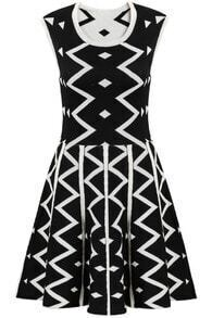 Black Sleeveless Geometric Print Knit Dress