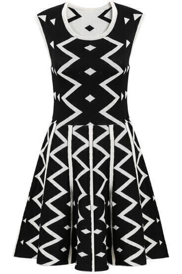 Black Sleeveless Geometric Print Knit Dress