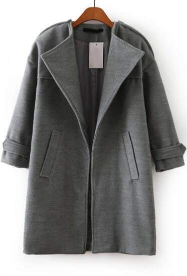 Grey Long Sleeve Pockets Epaulet Coat