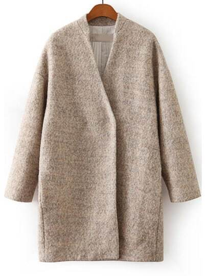 Apricot Long Sleeve Loose Woolen Coat