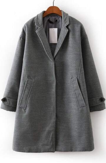 Grey Lapel Long Sleeve Pockets Woolen Coat