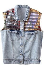 Blue Contrast Organza Striped Denim Vest