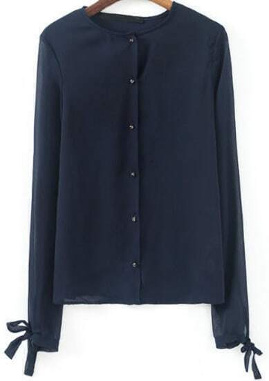 Navy Long Sleeve Bow Buttons Chiffon Blouse