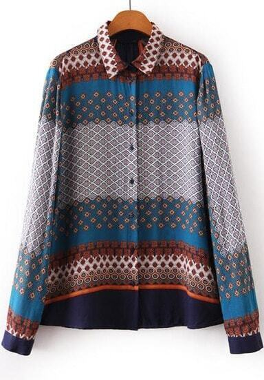 Blue Lapel Long Sleeve Geometric Print Blouse