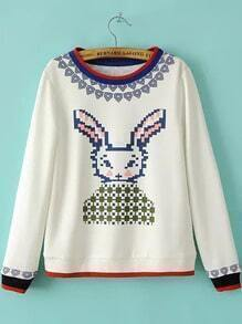 White Long Sleeve Rabbit Pattern Loose Sweatshirt