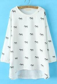 White Long Sleeve Zebra Print Loose Sweatshirt