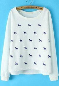 White Long Sleeve Horse Print Loose Sweatshirt