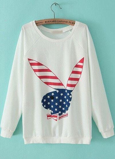 White Long Sleeve Rabbit Print Loose Sweatshirt