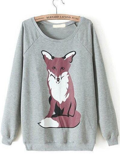 Grey Long Sleeve Fox Print Loose Sweatshirt