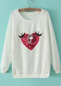 White Long Sleeve Heart Swallow Print Loose Sweatshirt