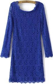 Blue Long Sleeve Zipper Embroidered Lace Dress
