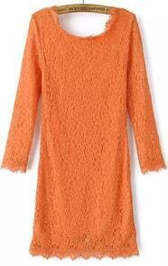Orange Long Sleeve Zipper Embroidered Lace Dress
