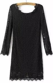 Black Long Sleeve Zipper Embroidered Lace Dress