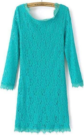 Green Long Sleeve Zipper Embroidered Lace Dress