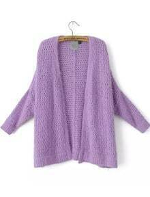 Purple Long Sleeve Hollow Mohair Knit Cardigan