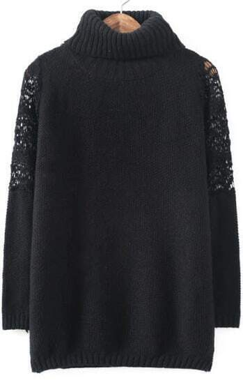 Black High Neck Lace Shoulder Loose Sweater