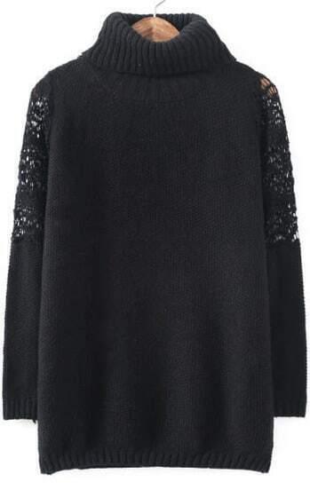 Black High Neck Lace Shoulder Loose Sweater
