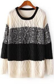 Black Beige Long Sleeve Cable Knit Sweater