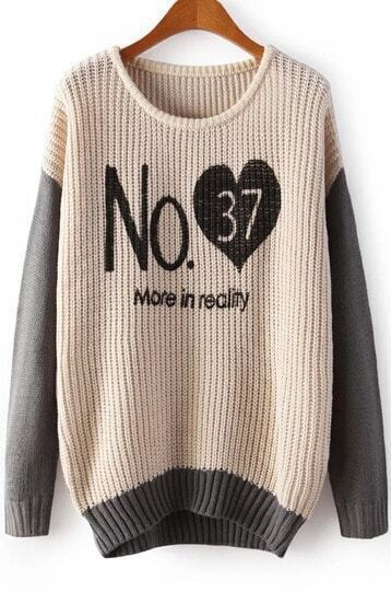 Apricot Long Sleeve No.37 Heart Print Sweater