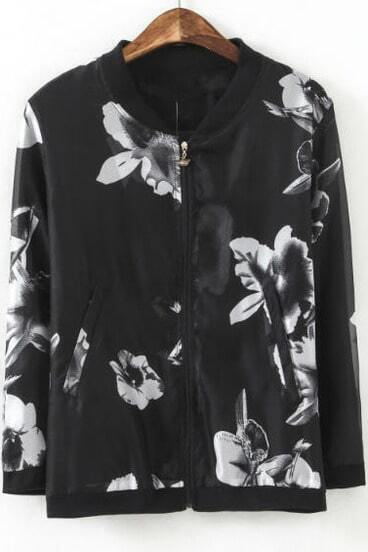 Black Long Sleeve Vintage White Floral Jacket