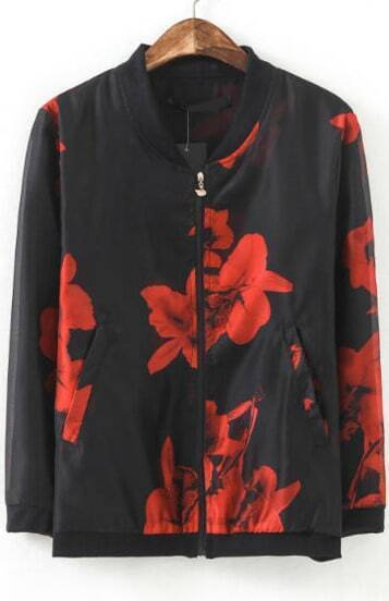 Black Long Sleeve Vintage Red Floral Jacket