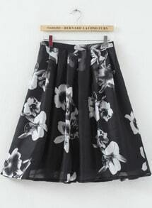 Black High Waist White Floral Pleated Skirt