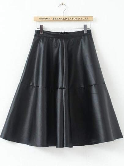 Black High Waist Pleated PU Leather Skirt