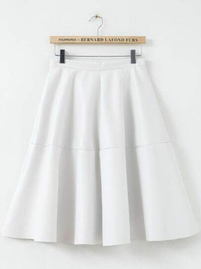White High Waist Pleated PU Leather Skirt