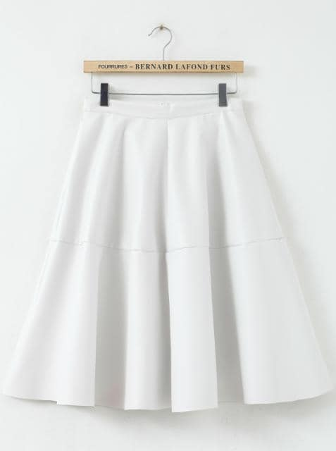 White High Waist Pleated PU Leather Skirt -SheIn(Sheinside)