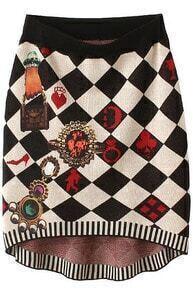 Black Diamond Patterned Knit Skirt