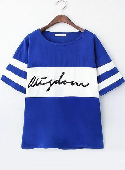 Blue Short Sleeve Striped Letters Print T-Shirt