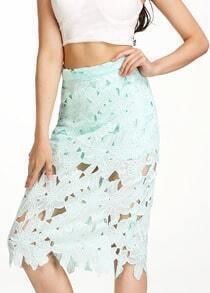 Green Hollow Floral Crochet Skirt