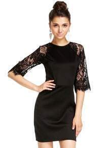 Black Half Sleeve Lace Bodycon Dress