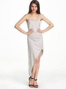 Grey Spaghetti Strap Asymmetrical Dress
