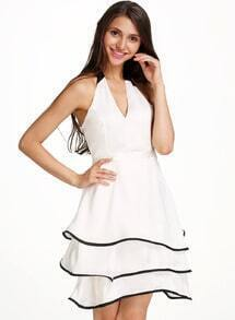 White Halter Backless Cascading Ruffle Dress