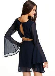Blue V Neck Long Sleeve Backless Chiffon Dress