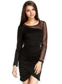 Black Contrast Sheer Mesh Yoke Bodycon Dress