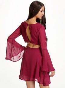 Red V Neck Long Sleeve Backless Chiffon Dress