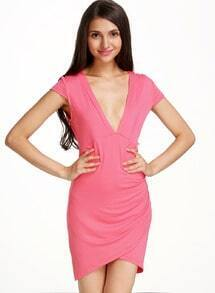 Pink V Neck Short Sleeve Bodycon Dress