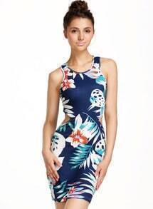 Blue Sleeveless Floral Bodycon Dress