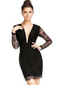 Black V Neck Backless Lace Bodycon Dress