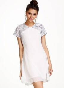 White Short Sleeve Floral Lace Chiffon Dress