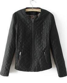 Black Round Neck Quality Quilted PU Leather Jacket