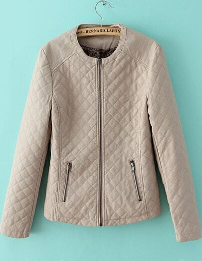 Nude Round Neck Quality Quilted PU Leather Jacket
